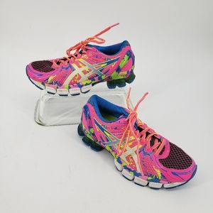 Asics Gel Sendai 2 Hot Pink Blue Sneakers Glitter